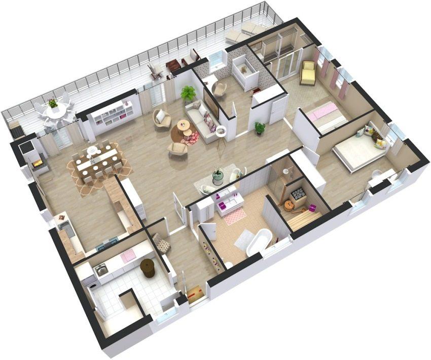 Проекти одноповерхових будинків з трьома спальнями. Вдалі планування ... 169a935f6188f