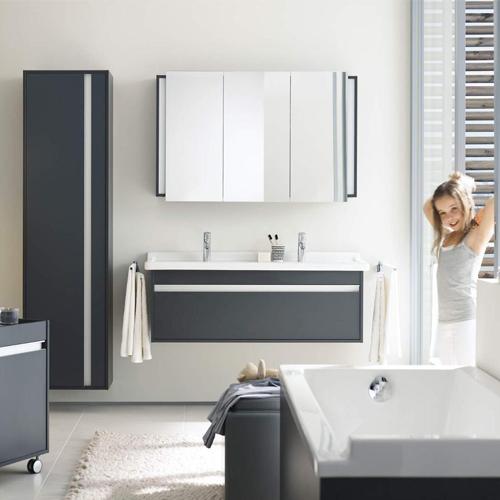 Пример размещения мебели в просторной ванной комнате
